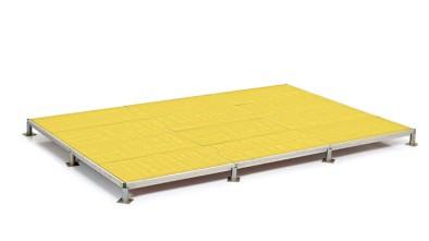 pedana modulare in legno, alluminio e regolabile